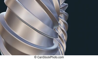 Mathematical object Dupin cyclide, 3d abstract model with pearly surface, shaped using helical curves, torus model with the effect of zooming close-up view, elegant abstract logotype, blender render