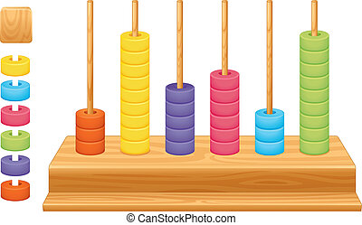 Mathematical place value abacus - Detailed illustration of a...