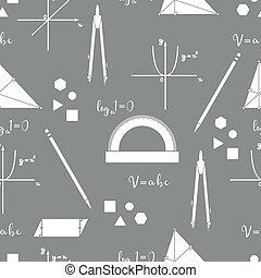Mathematical scientific vector seamless pattern.