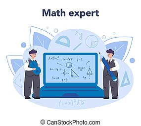 Mathematician concept. Mathematician seek and use scientific pattern and research to formulate new calculation. Math scientist resolve the truth and falsiy of conjecture. Vector illustration.