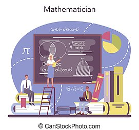 Mathematician. Mathematician seek and use scientific pattern and research to formulate new calculation. Math analysis and conjecture computing. Vector illustration.