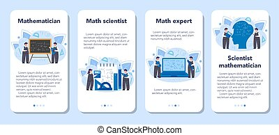 Mathematician mobile application banner set. Mathematician seek and use scientific pattern and research to formulate new calculation. Vector illustration.