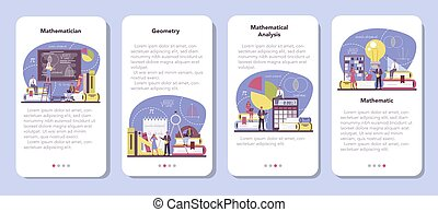 Mathematician mobile application banner set. Mathematician seek and use scientific pattern and research to formulate new calculation. Math analysis and conjecture computing. Vector illustration.