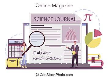 Mathematician online service or platform. Mathematician seek and use scientific pattern. Online magazine. Vector illustration.