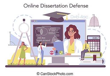 Mathematician online service or platform. Mathematician seek and use scientific pattern. Online dessertation defense. Vector illustration.