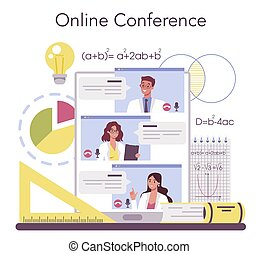 Mathematician online service or platform. Mathematician seek and use scientific pattern. Online conference. Vector illustration.
