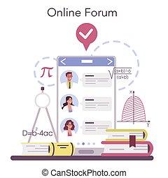 Mathematician online service or platform. Mathematician seek and use scientific pattern. Online forum. Vector illustration.