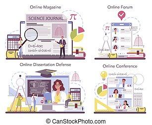 Mathematician online service or platform set. Mathematician seek and use scientific pattern. Online forum, magazine, conference, dessertation defense. Vector illustration.