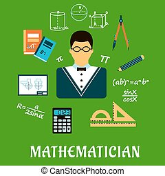 Mathematician or teacher with education objects -...