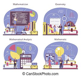 Mathematician set. Mathematician seek and use scientific pattern and research to formulate new calculation. Math analysis and conjecture computing. Vector illustration.