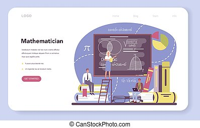 Mathematician web banner or landing page. Mathematician seek and use scientific pattern and research to formulate new calculation. Math analysis and conjecture computing. Vector illustration.