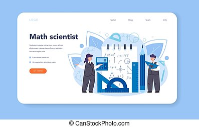 Mathematician web banner or landing page . Mathematician seek and use scientific pattern and research to formulate new calculation. Vector illustration.