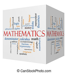 Mathematics 3D cube Word Cloud Concept with great terms such...