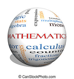 Mathematics 3D sphere Word Cloud Concept with great terms...