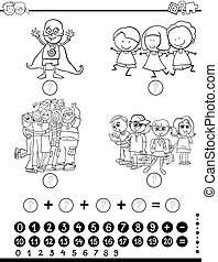 mathematics activity for coloring - Black and White Cartoon...