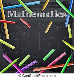 Mathematics And Colorful Markers On Blackboard