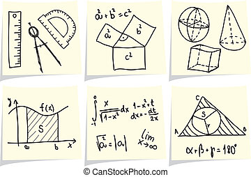Mathematics and geometry icons and formulas on yellow memo...