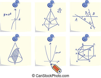 Mathematics and geometry icons, skechers and formulas on ...