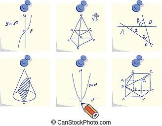 Mathematics and geometry icons, skechers and formulas on yellow memo sticks
