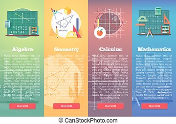 Mathematics banners. Flat vector education concept of math,...