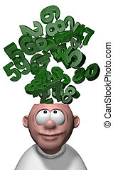 mathematics - bunch of numbers over cartoon mans head - 3d...