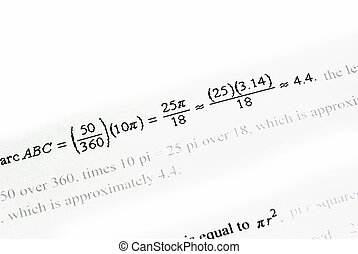 Mathematics calculations on white paper as background