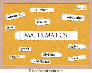 Mathematics Corkboard Word Concept
