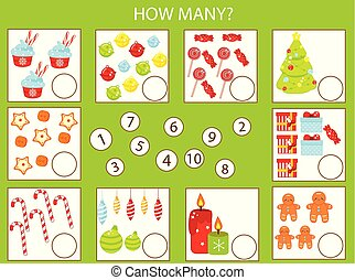 Mathematics educational children game, kids activity. How many objects task. New Year and christmas theme. Count from one to ten