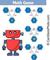 Mathematics educational game for children. Vector illustration