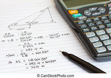 Mathematics equation with a scientific calculator