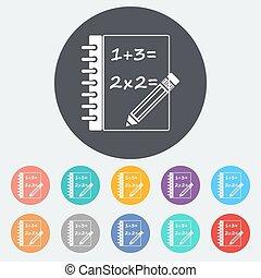 Mathematics. Single flat icon on the circle. Vector...