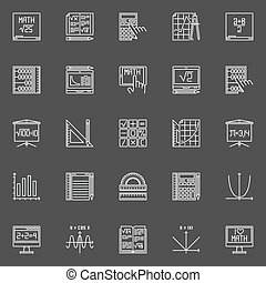 Mathematics line icons