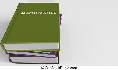 mathematics., livres, tas, animation, 3d