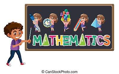 Mathematics logo on blackboard with cute boy isolated