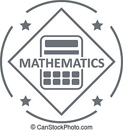 Mathematics logo, simple gray style