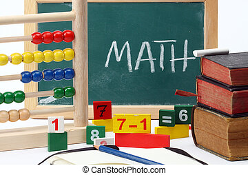 mathematics - Numbers,abacus and books- mathematical...