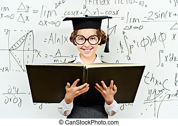 mathematics - Pretty smart schoolgirl in big glasses and...
