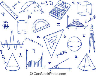 Mathematics - school supplies, geometric shapes and...