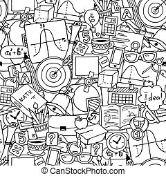 Mathematics science theme. Seamless hand drawn pattern about school and learning. Teacher's day background.