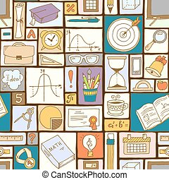 Mathematics science theme. Seamless hand drawn pattern about school and learning. Teacher's day background. Math backdrop. Education background design.