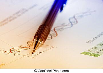 Mathematics - Close up of pen on mathematical background