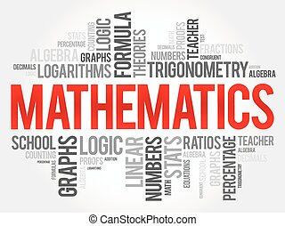 Mathematics word cloud collage, education concept background