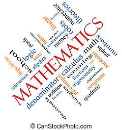 Mathematics Word Cloud Concept Angled - Mathematics Word...