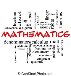 Mathematics Word Cloud Concept in red caps with great terms...