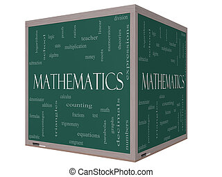Mathematics Word Cloud Concept on a 3D cube Blackboard