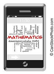 Mathematics Word Cloud Concept on Touchscreen Phone
