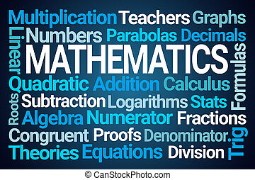 Mathematics Word Cloud on Blue Background