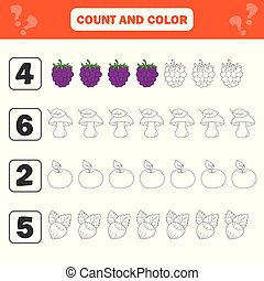 Mathematics worksheet for kids. Count and color educational children activity