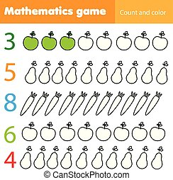 math worksheet template with matching numbers and vegetables