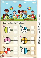 Mathematics Worksheet Fractions Chapter with Picture...